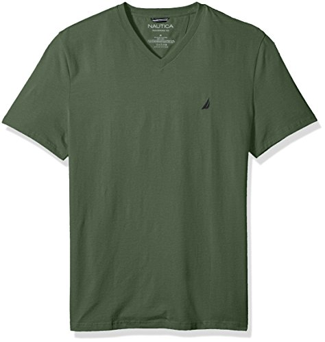Nautica Men's Short Sleeve Solid V-Neck T-Shirt, Pine Forest, Small Pine Green Apparel