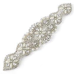 Rhinestone Chain Pearl Bridal Trim Neckline