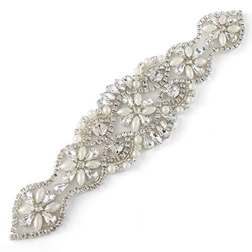 - QueenDream fashion Rhinestone applique chain pearl bridal applique trim neckline