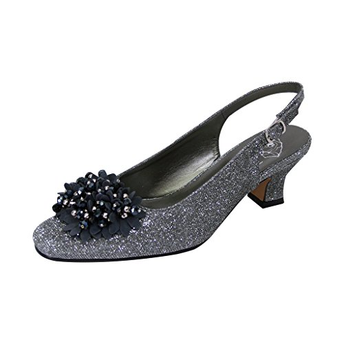 Floral FIC Natalie Women Extra Wide Width Metallic Flower Bow Slingback Pewter 8.5 ()