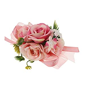 Fityle Bride Bridesmaid Wedding Wrist Corsage Party Proms Hand Flower Decor 9