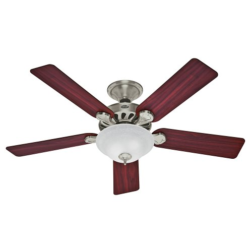 Hunter Fan Company 53085 Five Minute Fan 52-Inch Brushed Nickel Ceiling Fan with Five Cherry/Maple Blades and a Light Kit