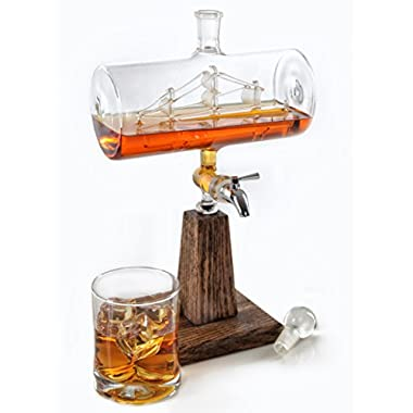Whiskey / Bourbon Decanter - Liquor Dispenser for Vodka, Rum, Wine, Tequila or Mouthwash - 1150ml Glass Decanter with Stainless Steel Spigot (Fathers Day Gift)