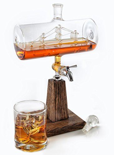 Whiskey / Bourbon Decanter – Liquor Dispenser for Vodka, Rum, Wine, Tequila or Mouthwash - 1150ml Glass Decanter with Stainless Steel Spigot
