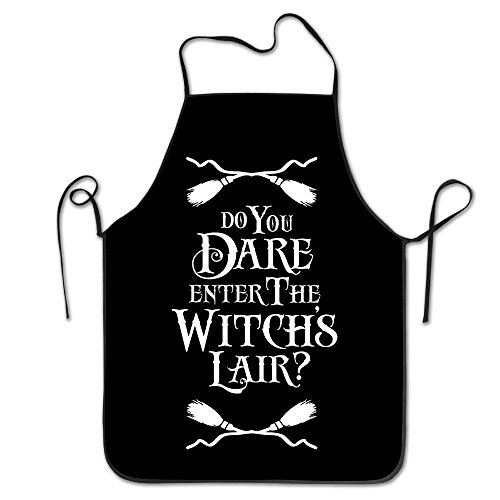 GAMSJM Personalized Kitchen Aprons Do You Dare Enter The Witchs Lair Halloween Unisex Adult Teen Kids Durable Cooking Baking Kitchen Restaurant Chef Apron Pinafore with Neck Strap One Size -