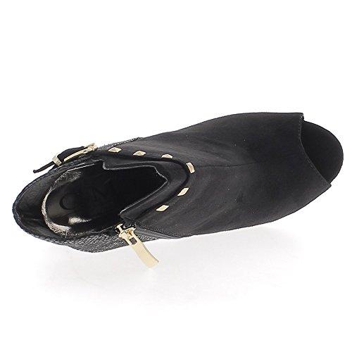 Nero aperta caviglia tacco 11cm fine camoscio e croco sguardo