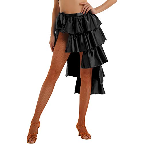 iEFiEL Women Latin Salsa Tango Dance Skirt Dress High-Low Asymmetric Multilayer Dancewear Swing Rumba Ballroom Costume Black -