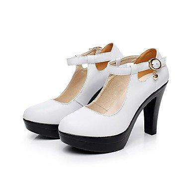 Gros Talons Automne Chaussures à LvYuan formelles 12 Chaussures ggx cm Blanc Femme amp; plus white Cuir formelles Printemps Chaussures Talon Noir x7IIqz