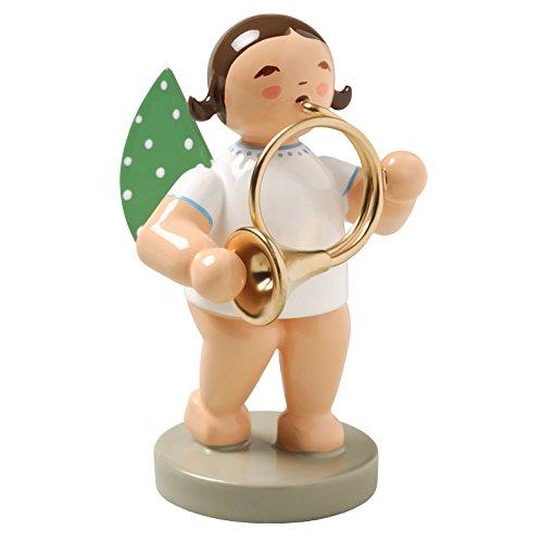 Wendt & Kuhn Brunette Hand Painted Grunhainichen Angel Orchestra Horn Figurine
