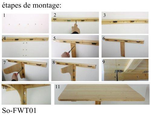 SoBuy FWT04 W Bureau Table Murale Rabattable En Bois, Table Pour Les  Enfants, Table De Cuisine L45cmxP70cm, BLANC: Amazon.fr: Cuisine U0026 Maison