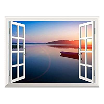 Charming Technique, Removable Wall Sticker Wall Mural Peaceful Lake View at Sunset Creative Window View Wall Decor, Classic Design