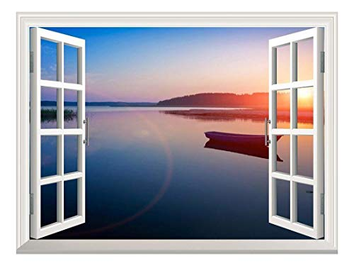 Removable Wall Sticker Wall Mural Peaceful Lake View at Sunset Creative Window View Wall Decor