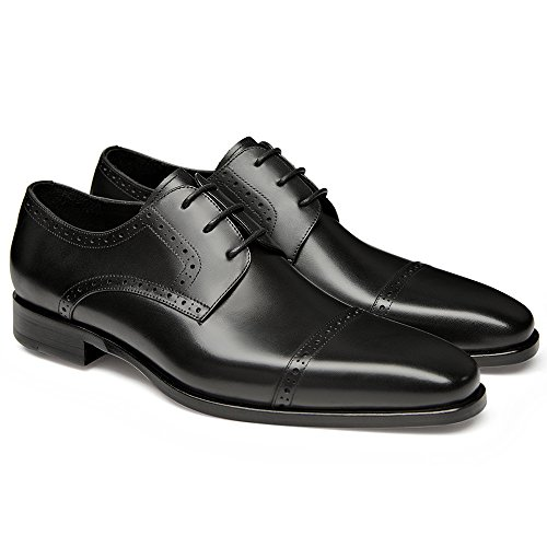 Gifennse Mens Lace Up Oxford Dress Scarpe Classiche Black-2