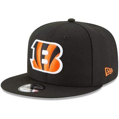 New Era Cincinnati Bengals Hat NFL Black Team Color Logo 9FIFTY Snapback Adjustable Cap Adult One Size ()