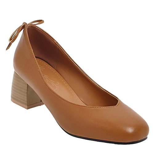 Carolbar Womens Bowknots Square Toe Retro Office Lady Mid Heel Pumps Shoes Brown YVlecOEtqh