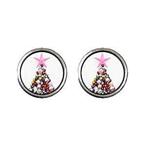 Chicforest Silver Plated christmas tree Photo Stud Earrings 10mm Diameter