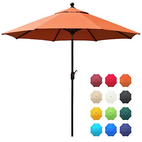 EliteShade Sunbrella 9Ft Market Umbrella Patio Outdoor Table Umbrella with Ventilation and 10 Years Non-Fading Guarantee (Sunbrella Rust)