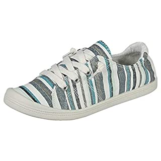 Forever Link Women's Classic Slip-On Comfort Fashion Sneaker, Blue Multi, 6