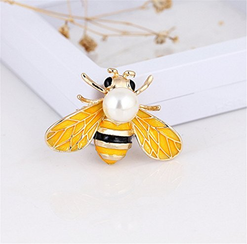 - Exquisite Fashion Elegant Yellow Bee Brooch Breastpin Corsage Jewelry Masquerade Theme Party Wedding Bridal Princess Queen Costume Accessories