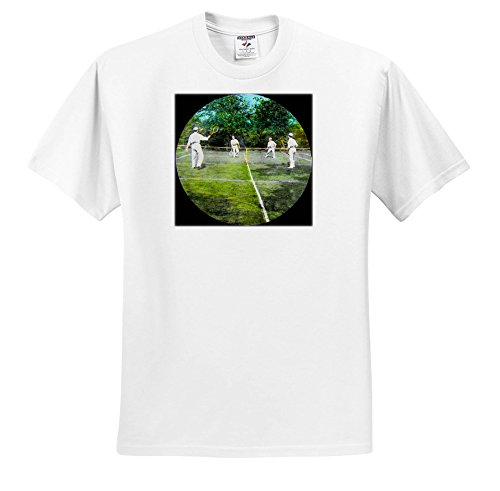 3dRose Scenes From The Past Magic Lantern Slides - Vintage Victorians Playing Tennis Circa 1890 Sports - T-Shirts - White Infant Lap-Shoulder Tee (6M) (TS_269864_66)