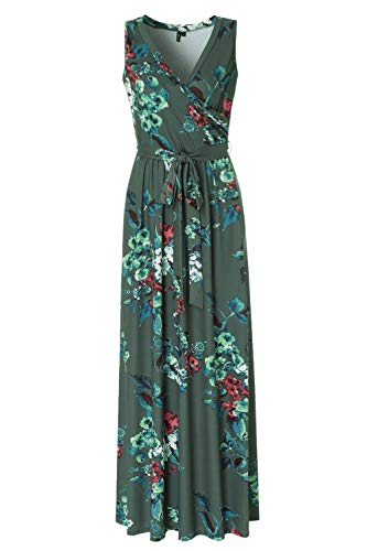 (Sleeveless Floral Maxi Dresses for Women V-Neck Summer Vintage Long Dress Sage S)