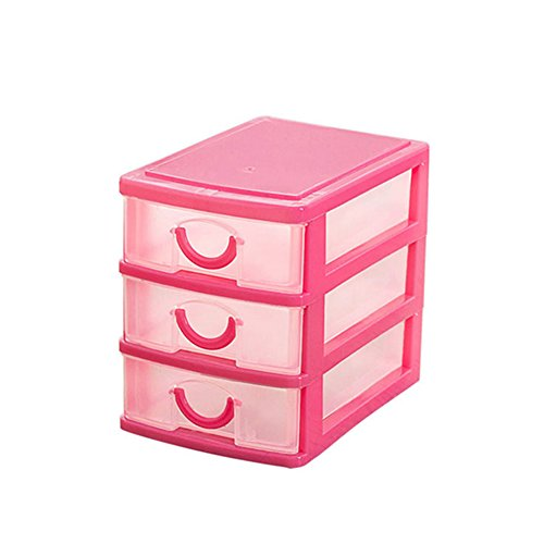 NEW Arrival Durable Plastic Mini Desktop Drawer Sundries Case Small Objects Cosmetics Storage Box Stackable Cube Organizer 2/3 Drawers (Three Layer:Pink) - Mini Drawers Storage