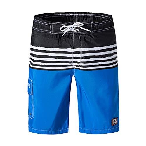 (Swim Trunks Men Short,Shybuy Men's Printed Double Pocket with Back Zipper Pocket Elastic Beach Pants Blue)