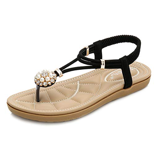 (SAIJING Women's Comfy Flat Thong Sandals Bohemian Slip on Flip Flop T-Strap Sandal Glitter Rhinestone Summer Beach Dress Shoes with Elastic Slingback Black-1 Size)