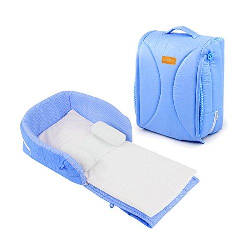 THEE Bolso de Mano Cama Plegable Portátil para Bebé azul