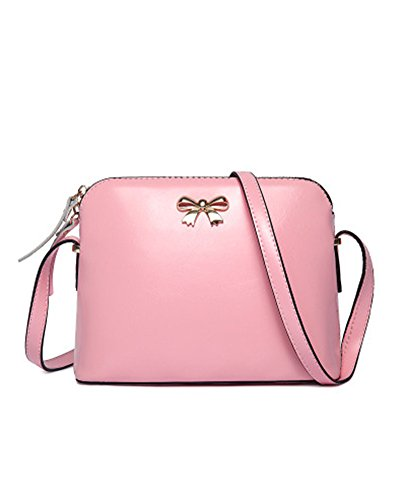 Kisstyle Casual Women Solid Color PU Leather Bow Crossbody Bag Pink
