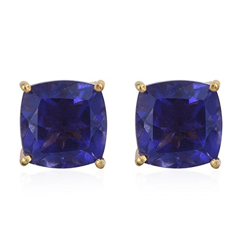 925 Sterling Silver Vermeil Yellow Gold Plated Cushion Quartz Stud Earring Solitaire Vermeil Earrings