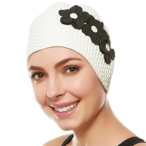 (Beemo Swim Bathing Caps for Women Latex Triple Flowers-White w/Black Flowers)