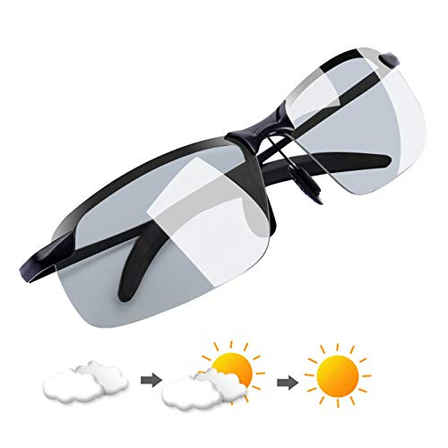 YIMI Polarized Photochromic Outdoor Sports Sunglasses For Men and Women Anti Glare UV400 Protection for Day and Night Driving Cycling Ski Golf ()