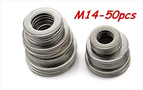 Zyj stores Flat Washers 50pcs M14 304 Stainless Steel Flat Washer Plain Washer Flat Gasket Stainless Flat Washer