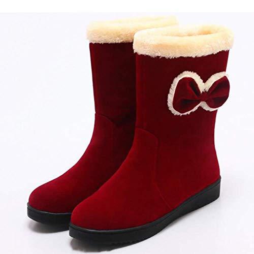 Qualité Taille Chaussures Décontractées Pour Rouge Oudan Arc Femmes Coton De Bottes Marron coloré Mignon 36 D'hiver Chaudes Haute wvZq8XZ