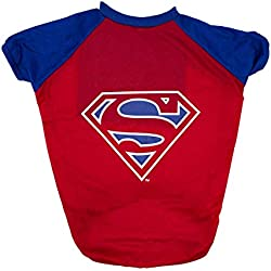 DC Comics Superman T-Shirt for Dogs | Superman Logo Dog Tee | Red & Navy, Large