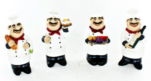 Fat Chef Kitchen Decoration Statue Set of 4 Bistro Cooking D64198 (Kitchen Chefs Statues compare prices)