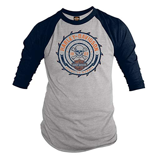 Harley-Davidson Military - Men's 3/4 Sleeve Raglan Tee - NAS Sigonella | Ready to Rumble -