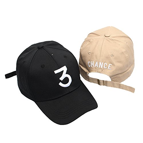 9daaf86d895a5 Galleon - 2 Pack Chance 3 Hat Cotton Embroidery Adjustable Baseball Cap  Snapback Dad Hats Unisex - Black+Khaki