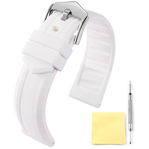 BINLUN Silicone Rubber Watch Band Smart Watch Strap 5 Color(White, Red, Black, Blue, Orange) 4 Size(16mm, 18mm, 20mm, 22mm)