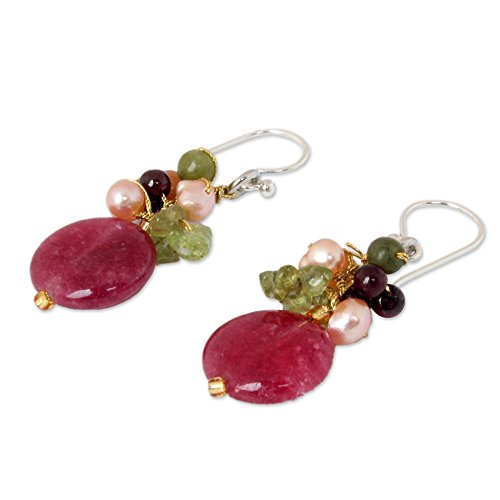 NOVICA Multi-gem Dyed Cultured Freshwater Pearl Sterling Silver Cluster Earrings, Thai Joy