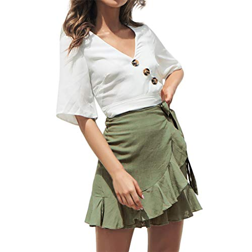 (JESPER Fashion Women Solid Ruffles Bandage Lace Up Short Skirt Sort Chic A-Line Pleated Skirt Army Green)