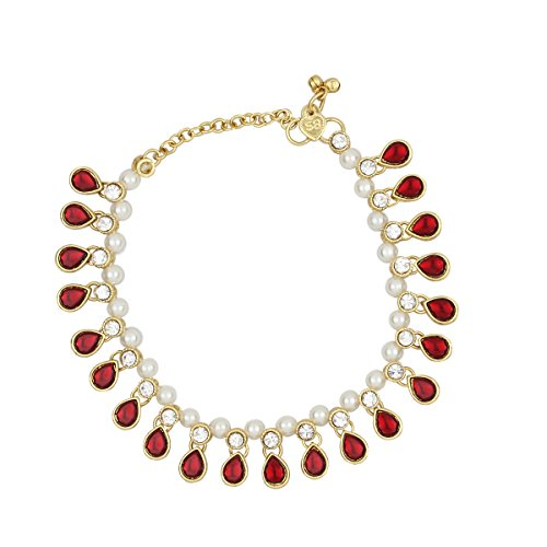 Valentine's Day Gift,Set of Two Payal Ankle Bracelets For Women Girls Anklets Bridal Rhinestone Faux Crystal Kundan (Design 08)