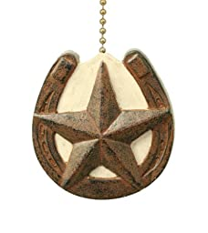 Horseshoe with Barn Texas Star Primitive Design Ceiling Fan Pull