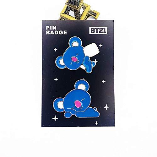 Youyouchard 2pcs/set KPOP BTS Brooch Set Cute Enamel Badge Brooch Pins for Backpack Hat Clothing(KOYA)