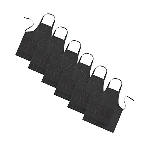 (LOYHUANG Total 6PCS Black Apron for Wowen Adult Unisex with 2 Pockets-Chef Cooking Baking Kitchen Restaurant Crafting Painting Party Aprons)