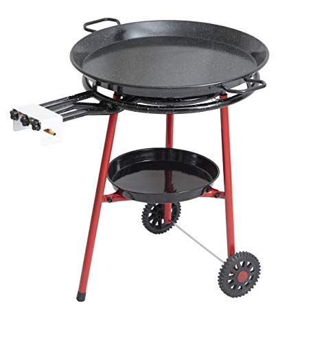 Mabel Home Paella Pan + Paella Burner and Stand Set on Wheels + Complete Paella Kit for up to 20 Servings - 23.65 inch Gas Burner + 25.60 inch Enamaled - Pan Steel Stands