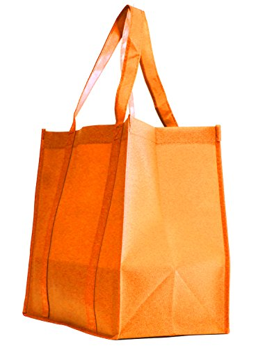 Grocery Tote bag, Large & Super Strong, Heavy Duty Shopping Bags with Stand-up PL Bottom, Non-Woven Convention Reusable Tote Bags, Premium Quality (Set of 5, Orange)