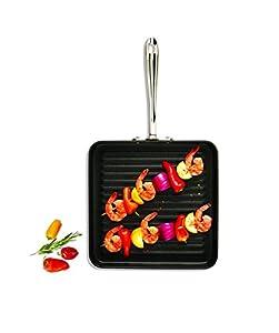 """All-Clad E7954064 HA1 Hard Anodized Nonstick Dishwasher Safe PFOA Free Square Grill Cookware, 11"""", Black"""