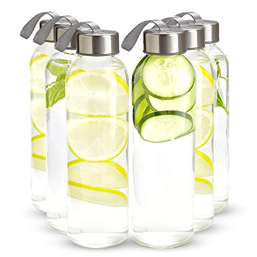 Kitchen Lux 16 oz. Glass Water Bottles – Set of 6 – Reusable Water Bottles with Airtight, Stainless Steel Lids + Bonus Carrying Strap & Nylon Water Bottle Protective Sleeves for Hot & Cold Drinks